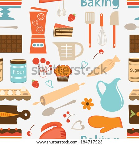 Colorful seamless bakery pattern. Vector format