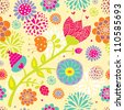 Colorful seamless pattern with flowers. Seamless pattern can be used for wallpaper, pattern fills, web page background, surface textures. - stock vector