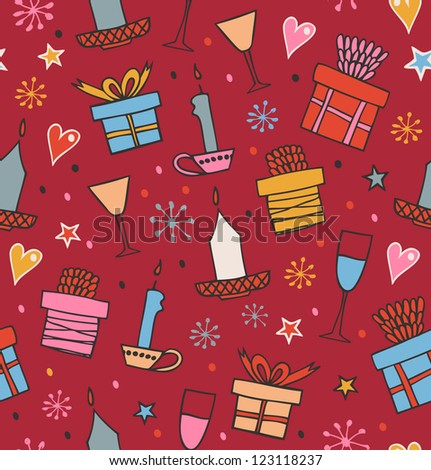 Colorful seamless pattern with gifts, candles, goblets. Endless decorative romantic background with boxes of presents. Hand drawn holiday texture for crafts, prints, wallpapers, package papers