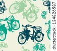 Colorful seamless pattern with vintage bicycle silhouettes. Vector illustration. - stock photo