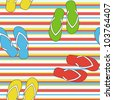 Colorful seamless summer pattern  with slippers, vector - stock vector