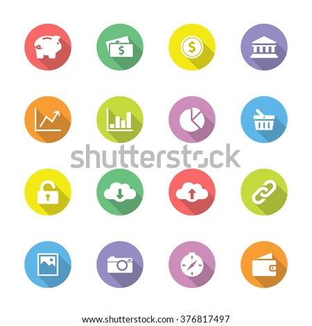 colorful simple flat finance and technology icon set 4 on circle with long shadow for web design, user interface (UI), infographic and mobile application (apps)