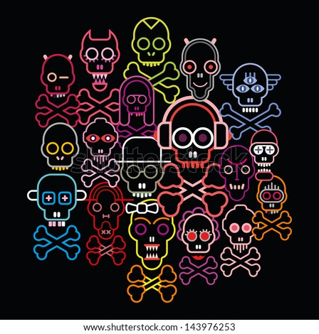 Colorful Skulls and Crossbones - vector illustration on black background.