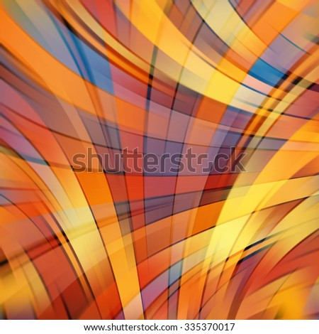 Colorful smooth light lines background. Art abstract geometric diagonal pattern blurred background in gold, yellow, orange, blue and brown colors