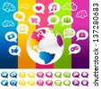 Colorful Social Media Planet Earth with Icons - stock vector