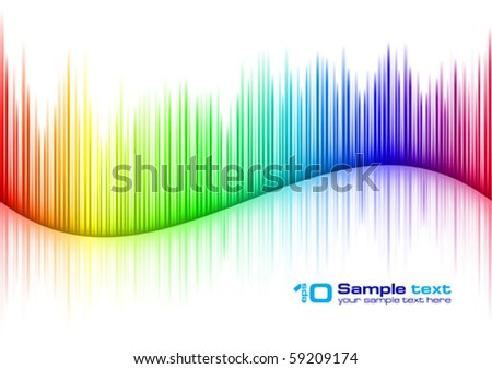 Colorful Sound waveform (editable vector) on white