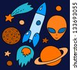 Colorful space elements set in orange and blue: spaceship, alien, stars, planets, vector - stock vector
