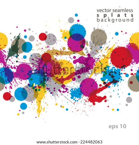 Colorful splattered web design repeat pattern, art ink blob, multilayered paintbrush drawing. Bright graffiti transparent seamless background, eps10.
