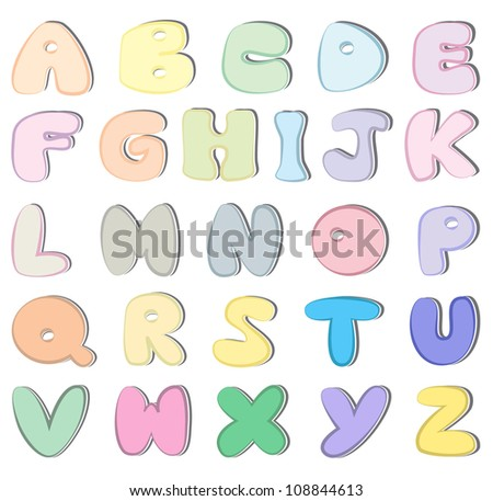 Colorful sticker alphabet vector