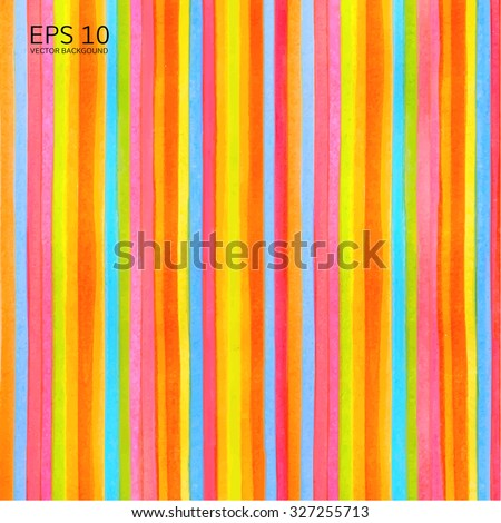 Colorful striped (stripes pattern) background. Vector watercolor backdrop with rainbow texture for any modern graphic design illustration. Red. green, yellow, orange, blue colors lines