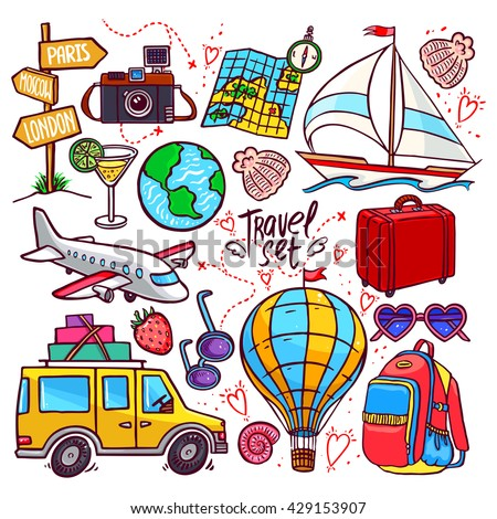 colorful travel icon set. airplane, car, ship. hand-drawn illustration