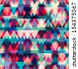 colorful triangle seamless pattern with grunge effect - stock vector