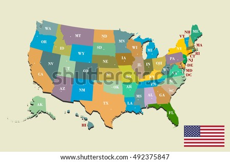Colorful Usa Map States Capital Cities Stock Vector - Capital of usa