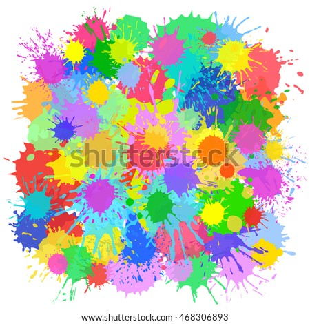 Colorful vector background with room for your text.  Bright festive background with ink blots for card, poster, paper, fashion, textile, cloth, print, label, website.