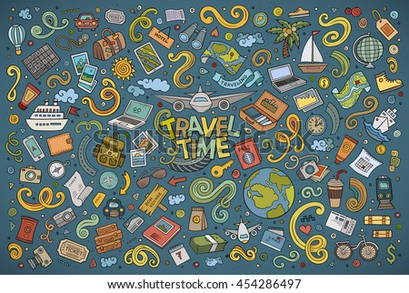 Colorful vector hand drawn doodle cartoon set of travel planning theme items, objects and symbols