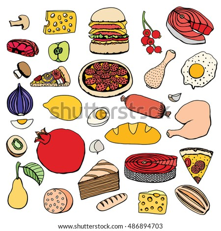 Colorful vector hand drawn food cartoon set of objects and symbols.