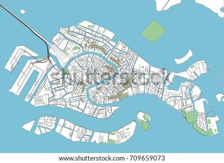 Vector City Map Venice Well Organized Stock Vector - Venice city map
