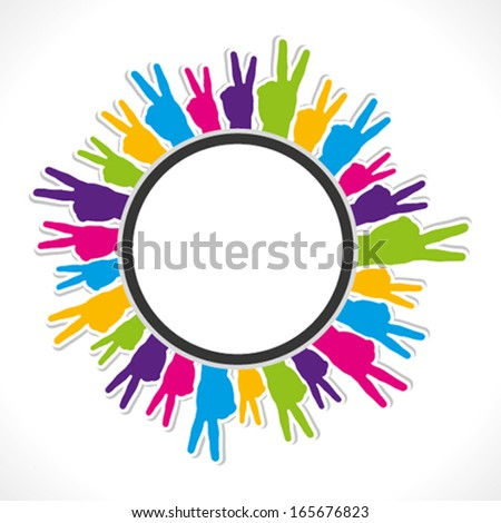 colorful victory sign hand round label vector