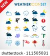 Colorful weather icon set - stock vector