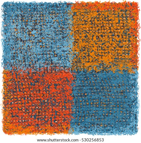 Colorful weave grunge striped and checkered square rug