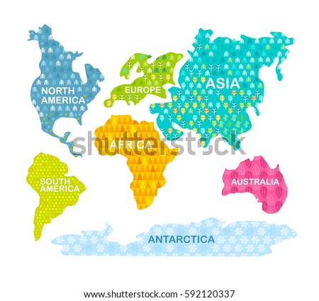 Colorful world map continents patterns africa stock vector colorful world map continents with patterns africa america asia europe gumiabroncs Images