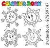 Coloring book cartoon snowflakes 1 - vector illustration. - stock