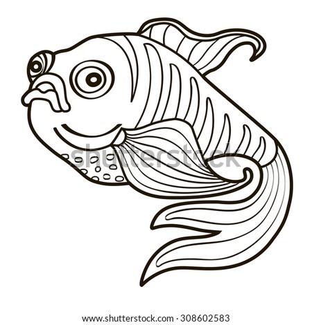 Beautiful koi carp fish illustration monochrome stock for Colorful fish book