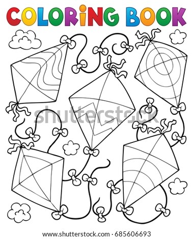 coloring book flying kites eps10 vector illustration - Coloring Book Paper Stock