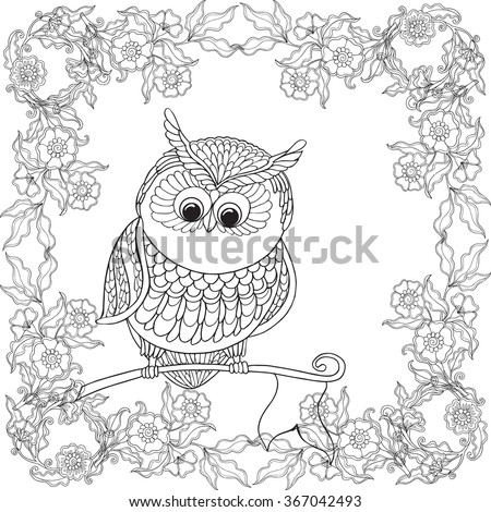 Coloring Book For Adult And Older Children Page With Cute Owl Floral Frame