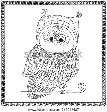 coloring book for adult and older children coloring page with cute owl outline drawing - Children Coloring Book