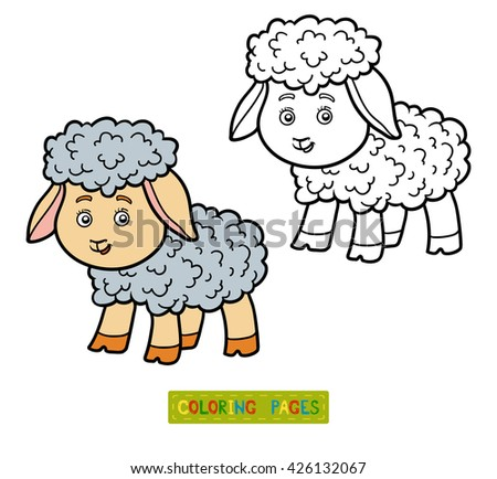 Coloring book for children, coloring page with sheep