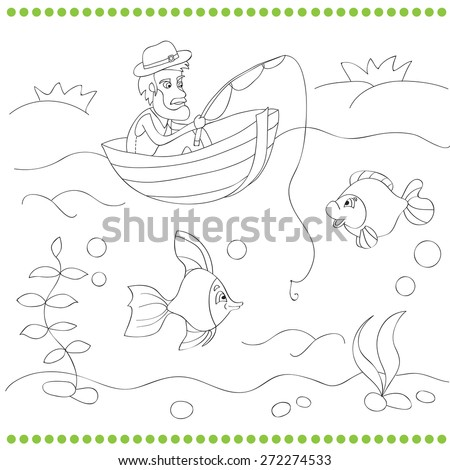 Coloring Book For Kids With Fisherman Vector Illustration