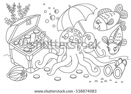 Coloring Book Page Rural Landscape Flower Stock Vector 662165983