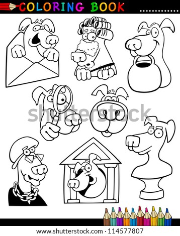 Coloring Book or Page Cartoon Illustration of Funny Dogs and Puppies for Children