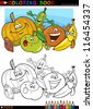 Coloring Book or Page Cartoon Illustration of Funny Food Characters Fruits and Vegetables for Children Education - stock photo