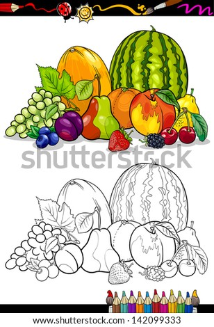 Coloring Book or Page Cartoon Vector Illustration of Fruits Food Group for Children Education