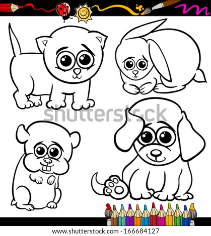 Coloring Book or Page Cartoon Vector Illustration Set of Black and White Cute Baby Pets Animals Mascot Characters for Children