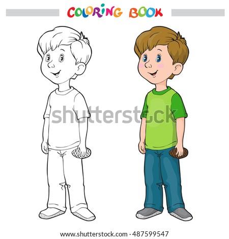 Coloring Book Page Boy Girl Vector Stock Vector 487599541