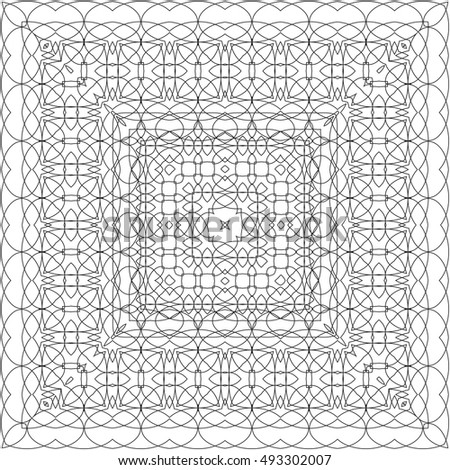 Coloring book page for adult, anti stress coloring and other decoration. Pattern design. Abstract background in black and white colors