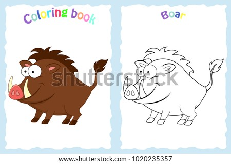 coloring book page for preschool children with colorful boar and sketch to color children education - Pictures To Color For Children