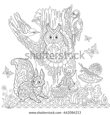 Zentangle Stylized Cartoon Eagle Owl Isolated Stock Vector