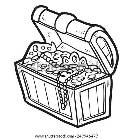 coloring book treasure chest - Open Treasure Chest Coloring Page