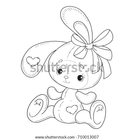 coloring book vector the bunny coloring book bunny with a bow teddy hare - Coloring Book Pics
