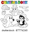 Coloring book wintertime animals 3 - vector illustration. - stock photo