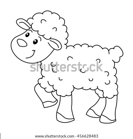 Coloring book with animals farm, sheep vector
