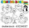 Coloring book with cute birds 1 - vector illustration. - stock vector