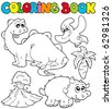 Coloring book with dinosaurs 2 - vector illustration. - stock vector