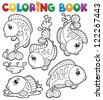 Coloring book with fish theme 1 - vector illustration. - stock photo