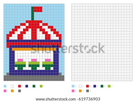 coloring book with numbered squares kids coloring page pixel coloring building house