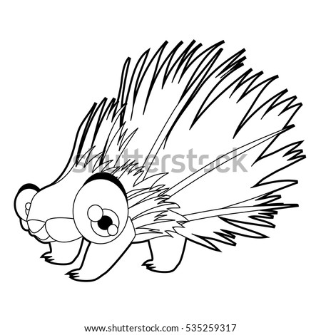 Coloring cute cartoon animals collection. Cool funny illustration of Porcupine